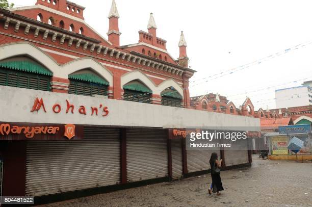 Traders shut down shops to mark their protest against Goods and Services Taxes which will be effected from today midnight at New Market area on June...