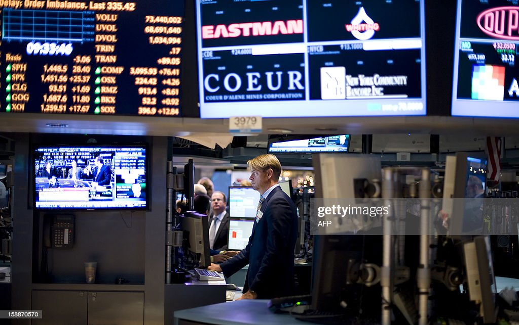 Traders work on the floor of the New York Stock Exchange (NYSE) in New York, January 2, 2013. US stocks shot up Wednesday on news of a fiscal-cliff deal in Congress that prevented most tax increases and delayed sharp spending cuts. A half hour into trade, the Dow Jones Industrial Average was up 263.18 points (2.01 percent) at 13,367.32. The tech-rich Nasdaq Composite added 80.27 points (2.66 percent) at 3,099.78, while the broad-market S&P 500 gained 30.24 (2.12 percent) at 1,456.43. In the first trading day of the new year, Wall Street joined a global equities rally celebrating the passage of a bill that avoids the 'fiscal cliff' of automatic spending cuts and tax increases.