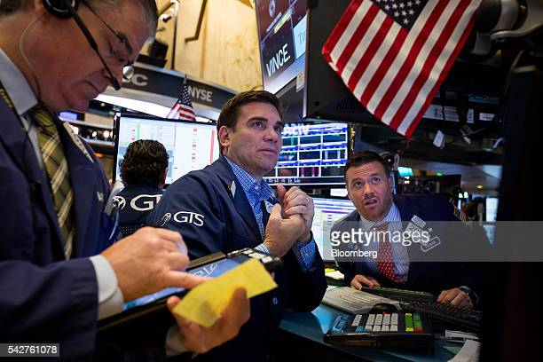 Traders work on the floor of the New York Stock Exchange in New York US on Friday June 24 2016 US stocks tumbled joining a worldwide selloff with the...