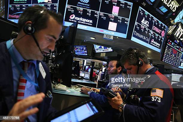 Traders work on the floor of the New York Stock Exchange on August 06 2015 in New York City The Dow Jones industrial average fell 120 points today as...
