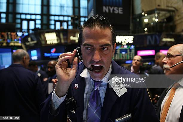 Traders work on the floor of the New York Stock Exchange on August 25 2015 in New York City Following a day of steep drops in global markets the Dow...