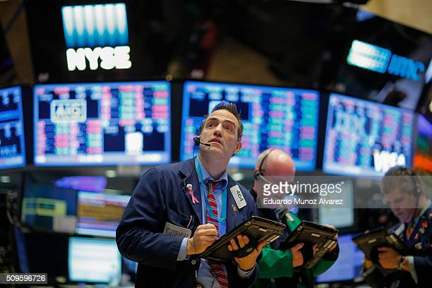Traders work on the floor of the New York Stock Exchange on February 11 2016 in New York City Stocks were down for the fifth day in a row buffeted in...