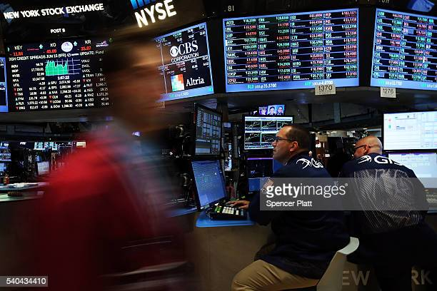 Traders work on the floor of the New York Stock Exchange on June 15 2016 in New York City As worries continue over slowing domestic job growth the...