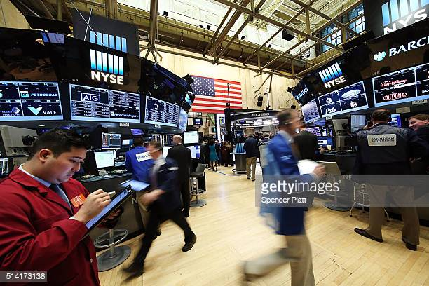 Traders work on the floor of the New York Stock Exchange on March 7 2016 in New York City Following a three week surge in stocks the Dow Jones...