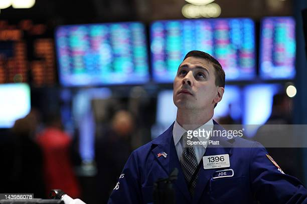 Traders work on the floor of the New York Stock exchange on May 7 2012 in New York CityFollowing weekend elections in both France and Greece that...