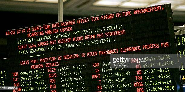A trading board at CME Group Inc's Chicago Board of Trade displays news on the Federal Open Market Committee rate decision in Chicago Illinois US on...