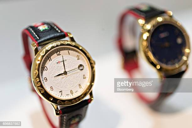 A Tradition model MWatch wristwatch produced by Mondaine Watch Ltd stands on display at the company's booth during the 2017 Baselworld luxury watch...