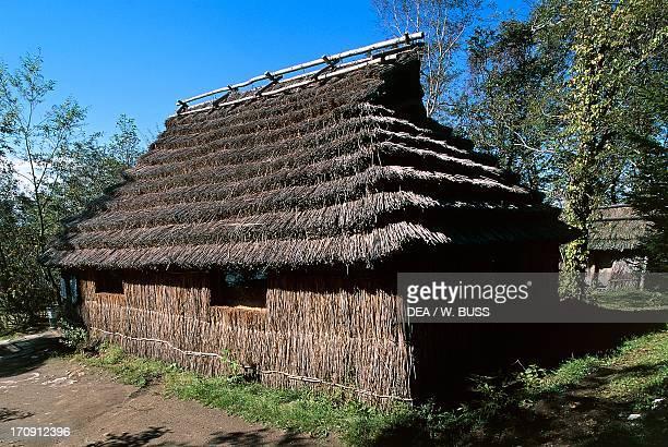 Traditional architecture of the Ainu Bear Park the spa town of Noboribetsu Onsen ShikotsuToya National Park Hokkaido Japan