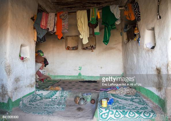 Traditional Argoba stone house main room Harari Region Koremi Ethiopia