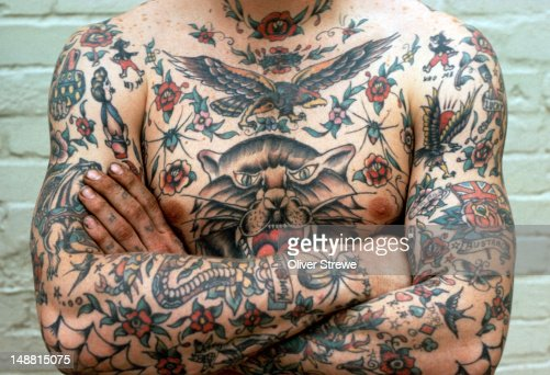 Traditional Australian tattoos from the 1970's. : Stock Photo
