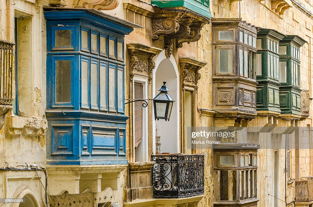Traditional balconies in valletta malta stock photo for Traditional balconies