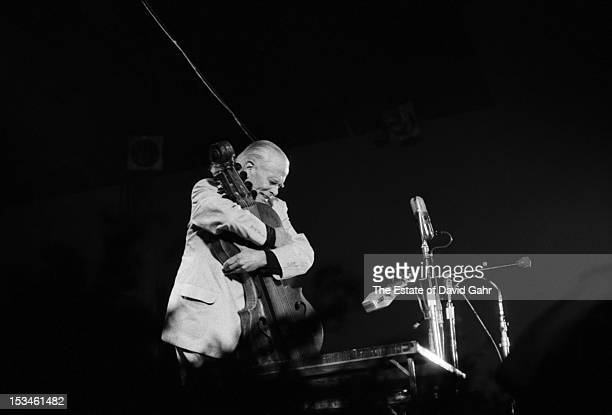 Traditional balladeer singer musician and folk song collector John Jacob Niles performs at the Newport Folk Festival in July 1959 in Newport Rhode...
