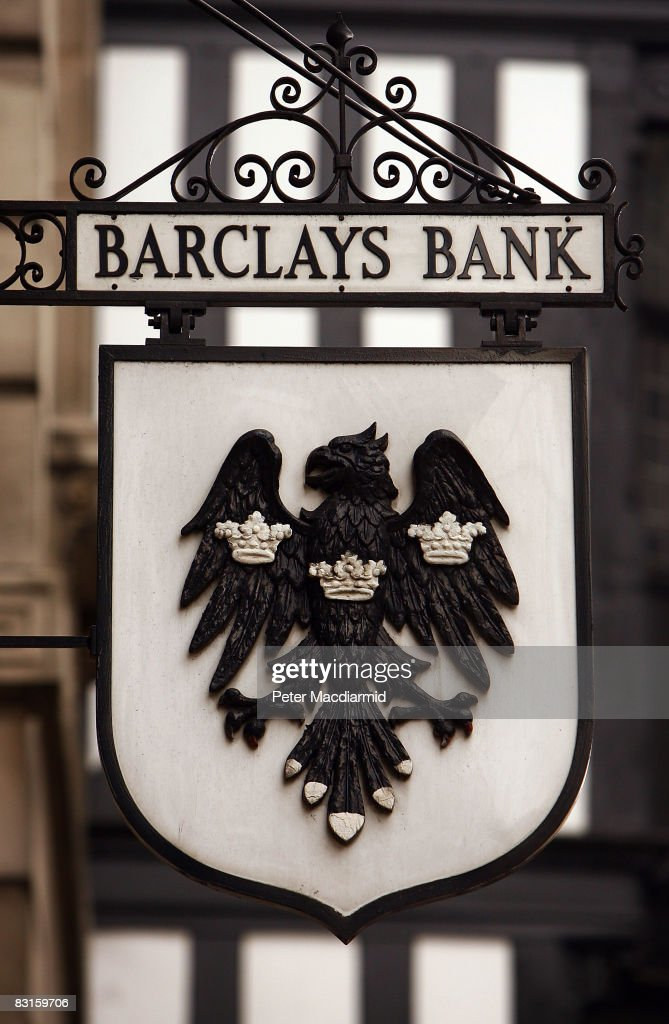 A traditional Barclay's Bank sign hangs above a branch on October 7, 2008 in London. Financial markets continue to fluctuate as the banking crisis continues.