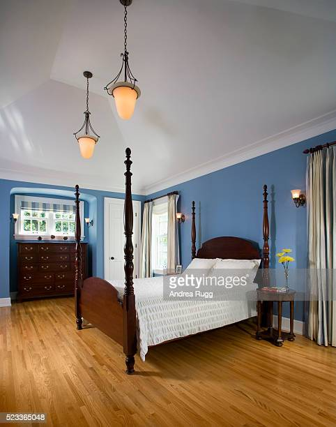 Traditional Bedroom with Blue Walls