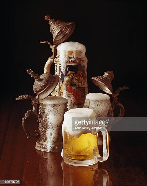Traditional beer stein and beer glass