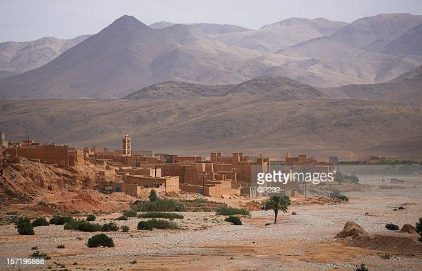 Traditional Berber town in Morocco and Atlas mountains