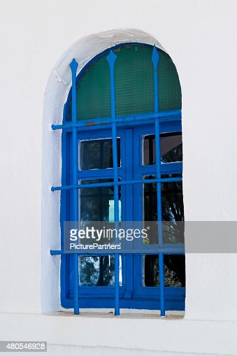 Pintado ventana griega tradicional de azul : Foto de stock