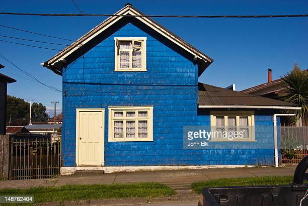Traditional blue wooden house.