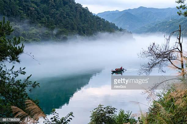 Traditional boat on river, Chenzhou, Hunan, China