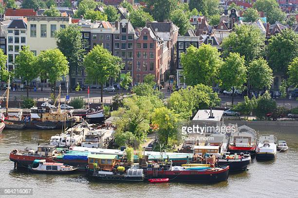 Traditional boats houses in Amsterdam