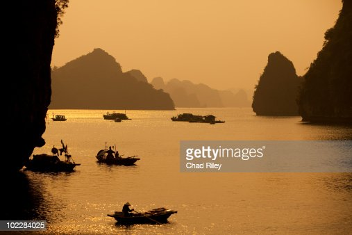 Traditional boats in Halong Bay, Vietnam : Stock Photo