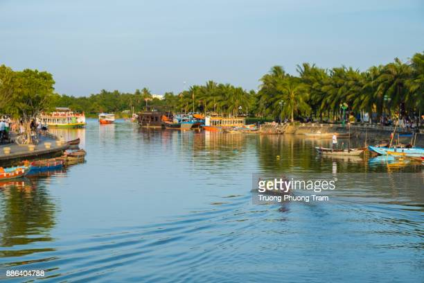 Traditional boats in Thu Bon River at Hoi An Ancient Town,Quang Nam province, Viet Nam.