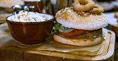 Traditional British Dishes salad Hamburger on the table