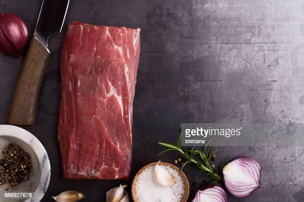 Traditional British Dishes. Raw beef tenderloin