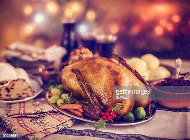Traditional British Holiday Goose Dinner with Apples and Brussels Sprouts