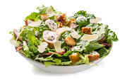 Plate of Traditional Caesar Salad with Chicken and Bacon