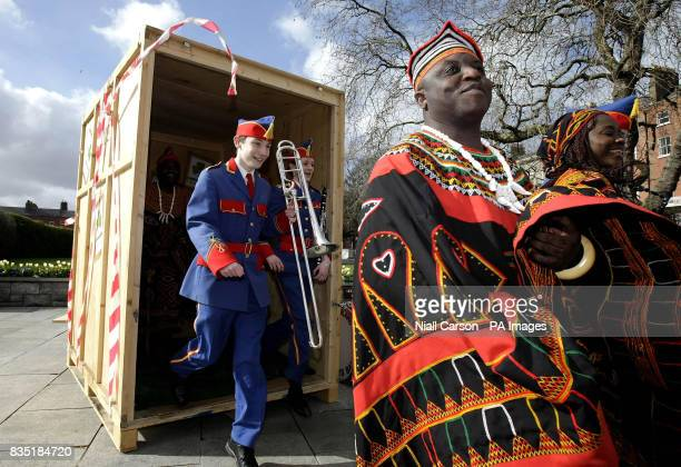 Traditional Cameroon performers and members of the Artane Boys Band take part in a photocall at the garden of remembrance in Dublin to launch this...