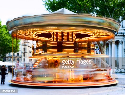 Traditional carousel with horses : Stock Photo