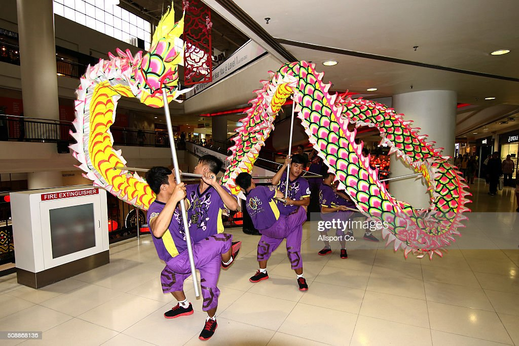 A traditional Chinese Dragon dance performs at a shopping mall in Subang Jaya ahead of Lunar New Year of the monkey celebrations on February 7, 2016 in Kuala Lumpur, Malaysia. According to the Chinese Calendar, the Lunar New Year which falls on February 8 this year marks the Year of the Monkey, the Chinese Lunar New Year also known as the Spring Festival is celebrated from the first day of the first month of the lunar year and ends with Lantern Festival on the Fifteenth day.