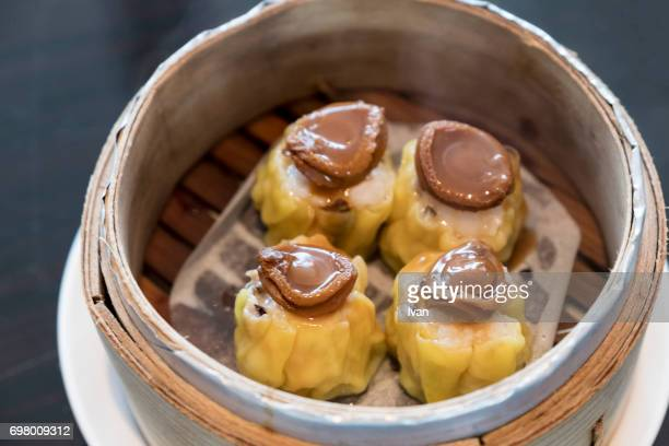Traditional Chinese Food, Small Abalone Siu Mai (steamed dumplings, Dim Sum)