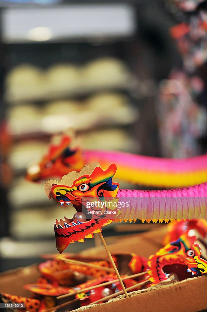Traditional Chinese gifts in a toy stall in China Town February 10, 2013 in London, England. London's Chinese community celebrate the start of the Year of The Snake with traditional dancing, music and fireworks.