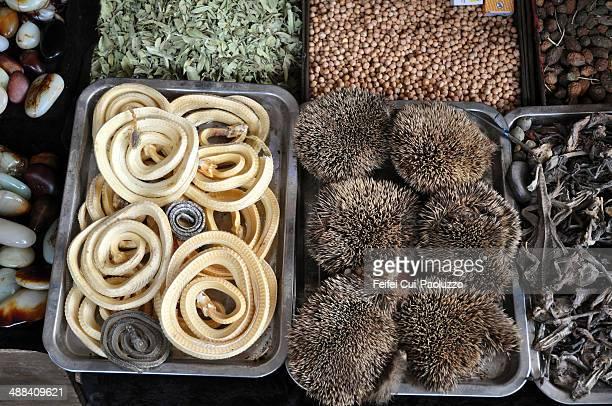 Traditional Chinese herbal elements for sale at Kashgar, Xinjiang Province, China