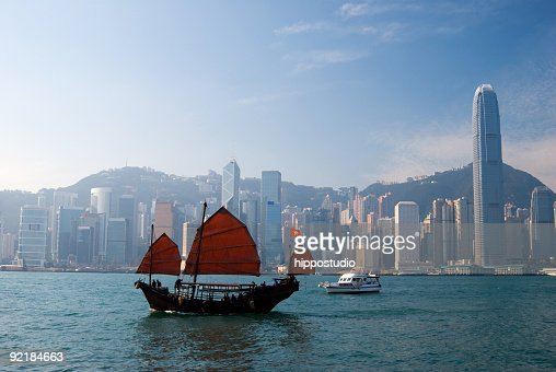 Traditional Chinese Junkboat sailing across Hong Kong Harbour