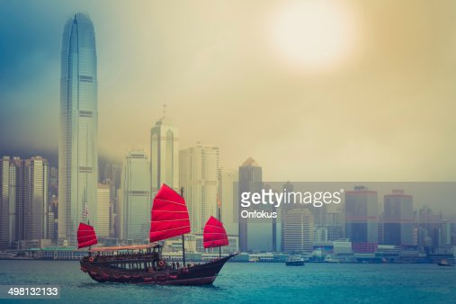Traditional Chinese Junkboat Sailing Across Victoria Harbour, Hong Kong