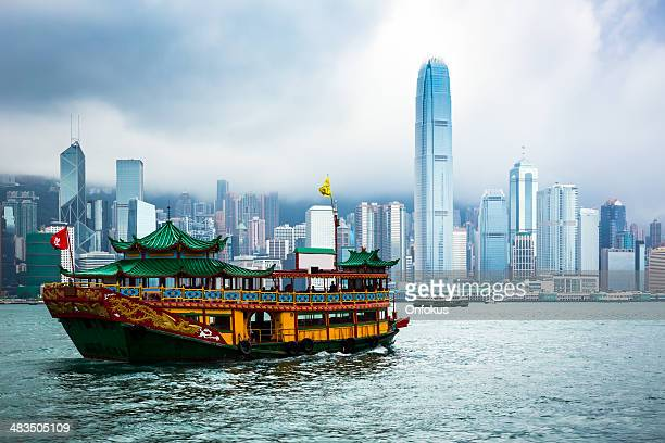 Traditional Chinese Junkboat Sailing Across Victoria Harbour