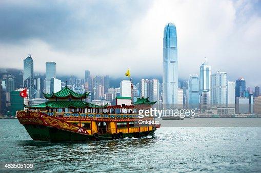 Traditional Chinese Junkboat Sailing Hong Kong