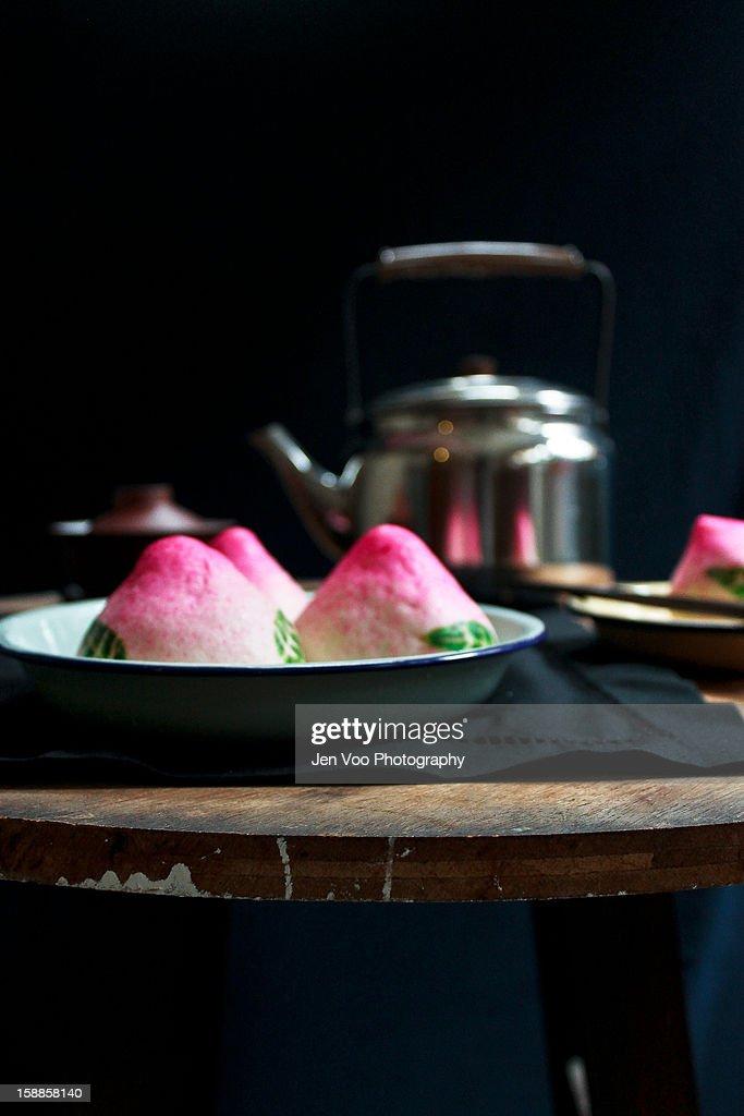Traditional Chinese Longevity/ Lotus Buns : Stock Photo