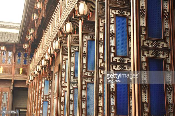 Traditional Chinese wood doors and windows lined up in a row, Hangzhou, China