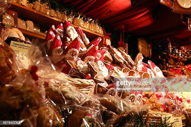 Traditional Christmas ginger bread and Chocolate seen at the annual Christmas market at Marienplatz and the Town Hall on its opening day on November...
