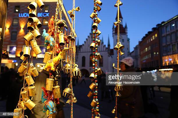 Traditional Christmas ornaments seen at the annual Christmas market at Marienplatz and the Town Hall on its opening day on November 25 0213 in Munich...
