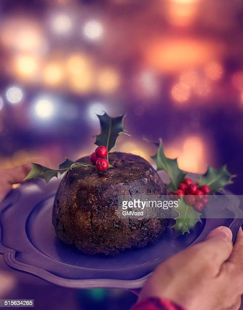 Traditional Christmas Pudding Served on a Plate