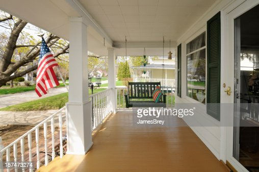 Traditional Clean Family Residential House, Covered Porch, Swing, USA Flag