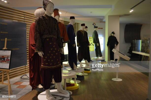 Traditional clothes of mail carriers are seen at the PTT Stamp Museum in Ankara Turkey on July 21 2017