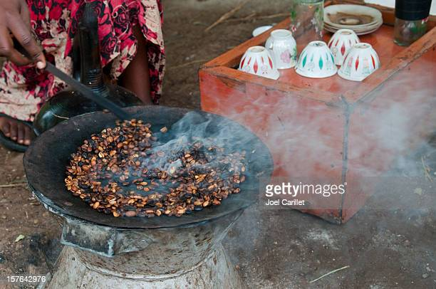 Traditional coffee ceremony with roasted coffee in Arba Minch, Ethiopia