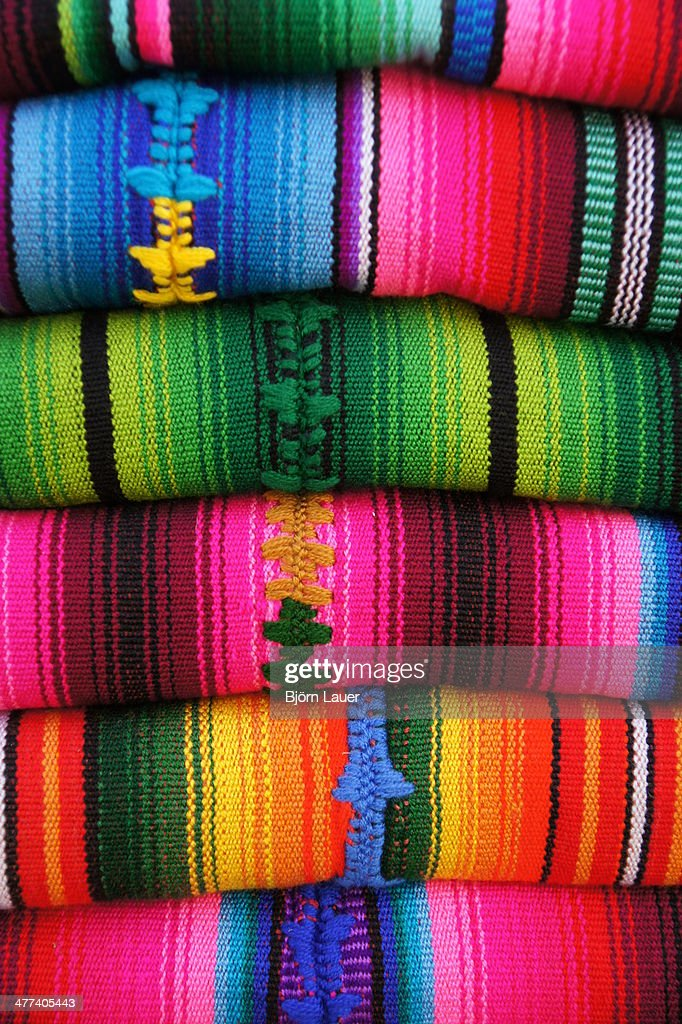 Traditional colorful costumes at market