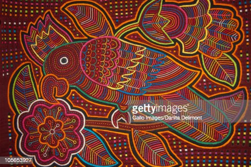 Traditional colorful hand stitched Kuna Indian mola : Stock Photo